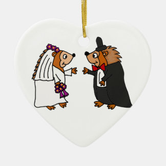 Funny Bride and Groom Hedgehog Wedding Art Christmas Ornament