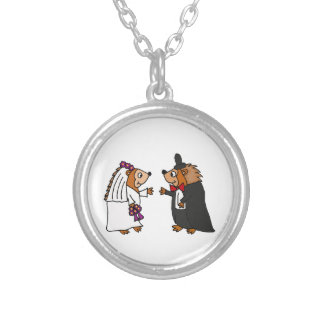 Funny Bride and Groom Hedgehog Wedding Art Silver Plated Necklace
