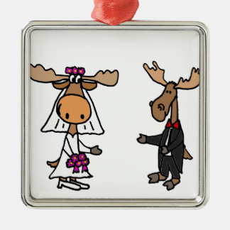 Funny Bride and Groom Moose Wedding Christmas Ornament