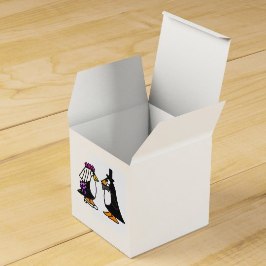 Funny Bride and Groom Penguin Favour Box