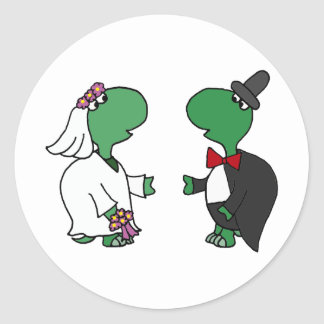 Funny Bride and Groom Turtle Wedding Design Round Sticker