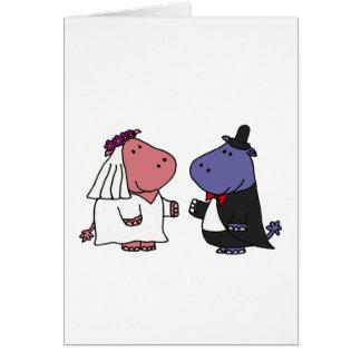 Funny Bride and Groom Wedding Cartoon Card