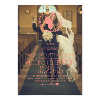 funny bride kidnapping/deer theme 13 cm x 18 cm invitation card