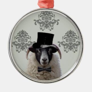 Funny bridegroom sheep in top hat christmas ornament