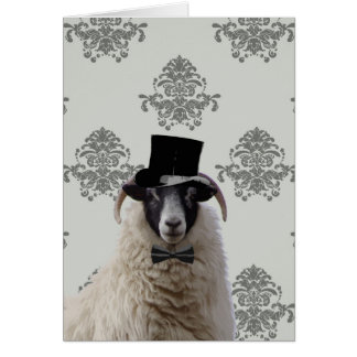 Funny bridegroom sheep in top hat greeting card