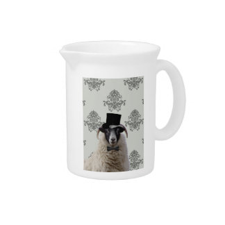 Funny bridegroom sheep in top hat pitcher