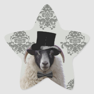 Funny bridegroom sheep in top hat star sticker