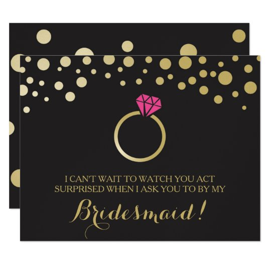 Funny BRIDESMAID PROPOSAL card ~ Black & Faux