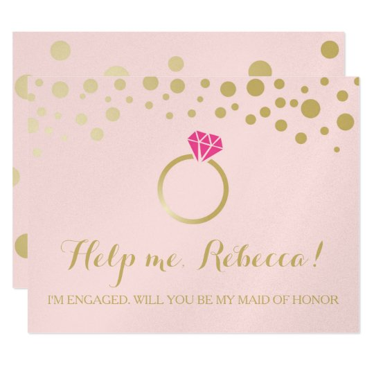 Funny BRIDESMAID PROPOSAL card ~ Pink & Faux