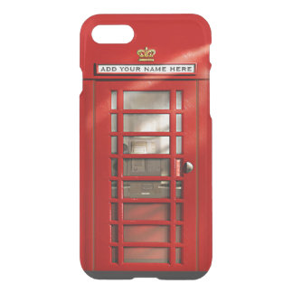 Funny British Red Phone Booth Personalised iPhone 7 Case
