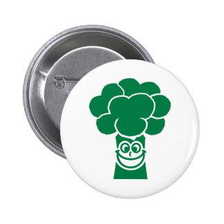 Funny broccoli face 6 cm round badge