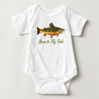 "Funny Brook Trout ""Born to Fly Fish"" Baby Bodysuit"