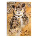 Funny Brother, Birthday,  Owl Wild & Crazy Greeting Cards