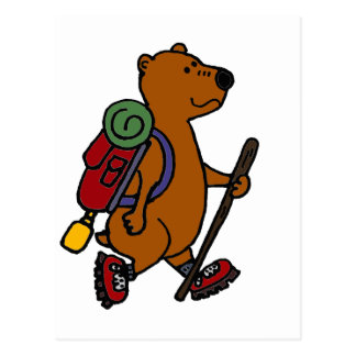Funny Brown Bear is Hiking Postcard