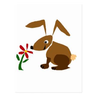 Funny Brown Bunny Rabbit Primitive Art Postcard
