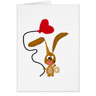 Funny Brown Bunny Rabbit with Heart Balloon Greeting Card
