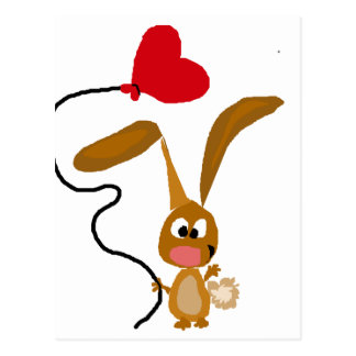 Funny Brown Bunny Rabbit with Heart Balloon Postcard