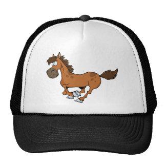 FUNNY BROWN CARTOON HORSE RUNNING GALLOPING TRUCKER HAT