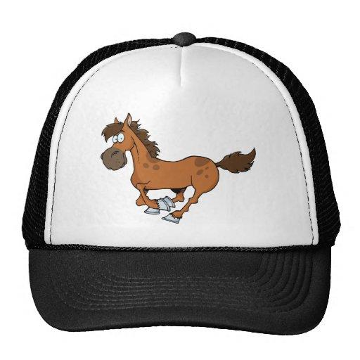 FUNNY BROWN CARTOON HORSE RUNNING GALLOPING MESH HATS