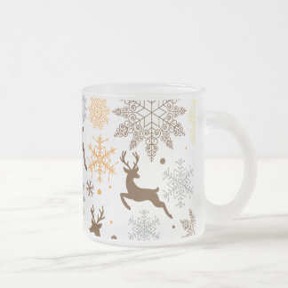 Funny Brown Christmas Pattern Frosted Glass Coffee Mug