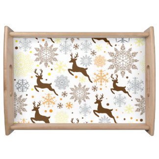 Funny Brown Christmas Pattern Serving Tray