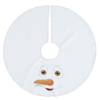 Funny Brown Eyed Snowman Brushed Polyester Tree Skirt