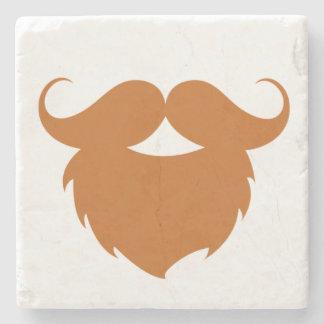 Funny Brown Mustache Stone Coaster