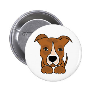 Funny Brown Pitbull Puppy Dog 6 Cm Round Badge