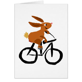 Funny Brown Rabbit Riding Bicycle Greeting Card
