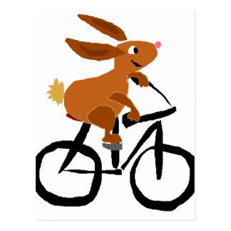 Funny Brown Rabbit Riding Bicycle Postcard