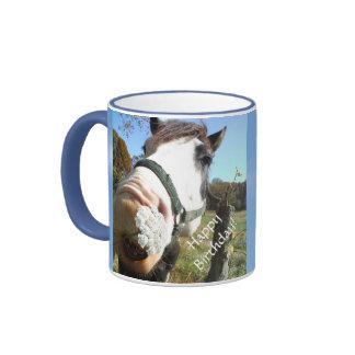 Funny Brown &White horse w/ wildflower in teeth Ringer Coffee Mug
