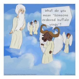 Funny Buffalo Wings In Heaven Rick London Poster