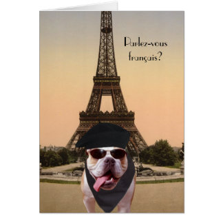 Funny Bull Dog French Birthday Card