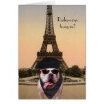 Funny Bull Dog French Birthday Greeting Card