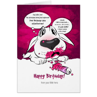 "Funny Bull Terrier Cartoon Card ""Happy Birthday"""