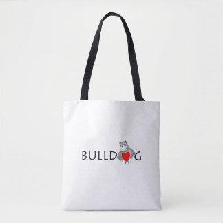 Funny Bulldog Cartoon Love Red Heart Tote Bag