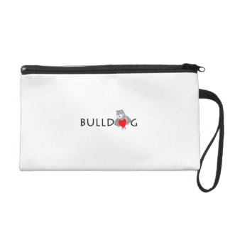 Funny Bulldog Cartoon Love Red Heart Wristlet Clutch