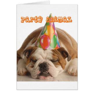 Funny Bulldog Gifts-Party Animal Sleeping Bulldog Greeting Card