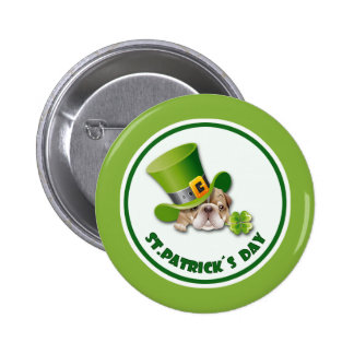 Funny Bulldog St.Patrick's Day Buttons 2 Inch Round Button