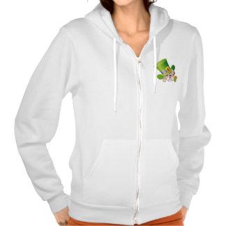 Funny Bulldog. St.Patrick's Day Fleece Zip Hoodie Hooded Sweatshirt