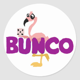 Funny Bunco Dice Game and Pink Flamingo Round Sticker