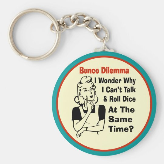 Funny Bunco Dilemma With Retro Woman Basic Round Button Key Ring