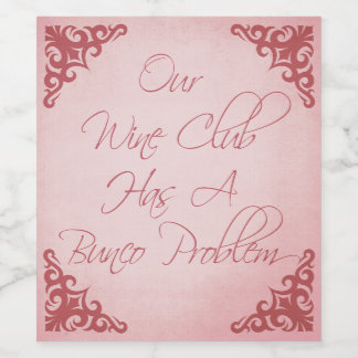 Funny Bunco Wine Club Wine Label