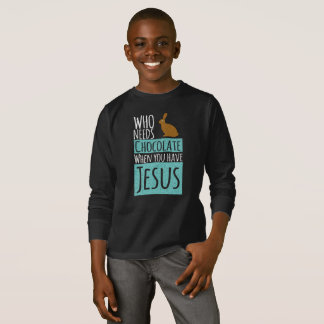 Funny Bunny Choco Jesus Christian Long Sleeve T-Shirt