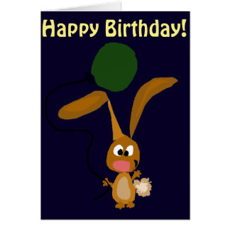 Funny Bunny Rabbit Holding Balloon Greeting Card