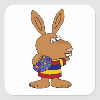Funny Bunny Rabbit Holding Spotted Egg Square Sticker
