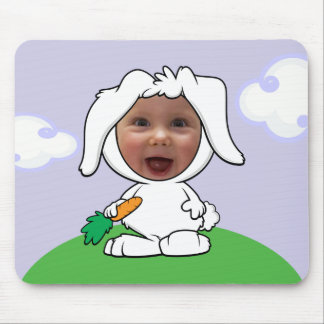 Funny Bunny Rabbit Photo Face Template Mouse Mat