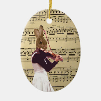 Funny bunny rabbit violinist christmas ornament