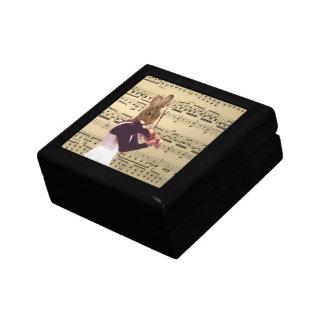 Funny bunny rabbit violinist small square gift box