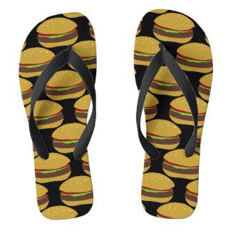 Funny Burger Pattern BBQ Flip Flops